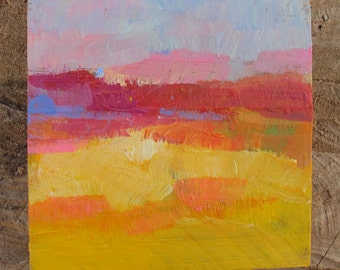 Abstract microlandscape in warm colours, original minimalist oil painting on reclaimed wood