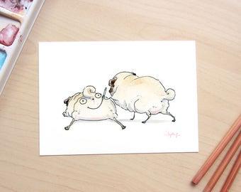 SMILE funny pug art print, pug butt art, dog butts, cute pug illustration, pugs prank, face butt print by Inkpug