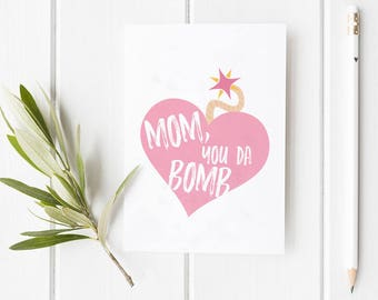 Mom, You Da Bomb Mother's Day Greeting Card | Funny, Love, Modern Cute, family, Holiday, Illustration, Stationery, Design, Custom Mother