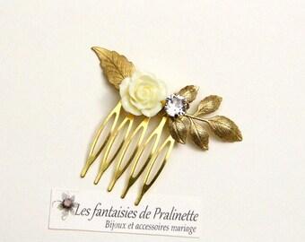Peigne mariage fleur rose et cristal, accessoires bohème, bijoux de mariées, peignes mariées, Bridal jewelry resin flower haircomb, bohemian