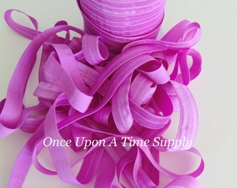 Light Violet Fold Over Elastic for Baby Headbands - 5 Yards of 5/8 inch FOE - Craft Embellishment Solid Color Elastic By The Yard
