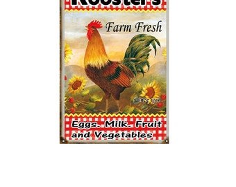 Roosters Farm Fresh Eggs Milk Fruit And Vegetables Country Sign
