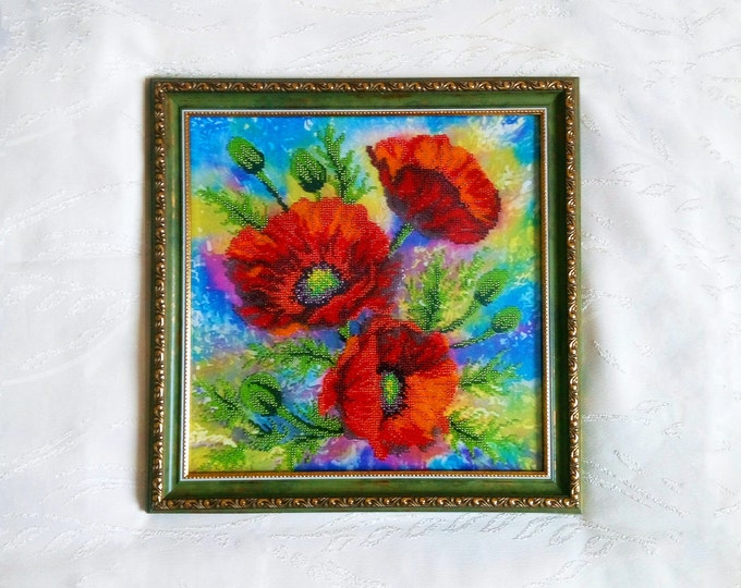 Seed Bead embroidered picture with red Poppy bouquet - flower wall art - hand embroidery - landscape picture - ready to ship
