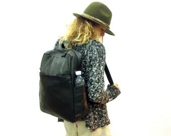 SALE! Black Leather backpack, Laptop backpack laptop rucksack Travel backpack Macbook pro backpack  13  15 Leather Rucksack bottle pocket