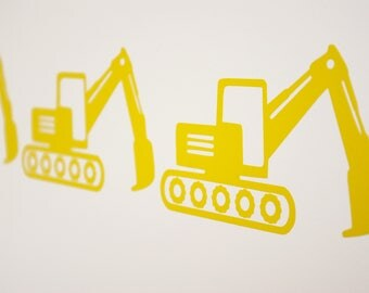 JCB style Digger Excavator Vinyl Wall Art Decals/Stickers - Various Colours