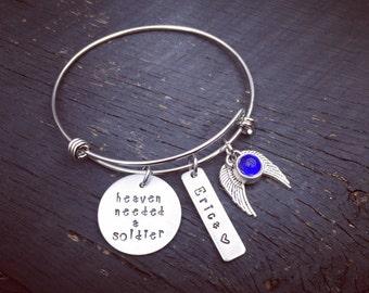 Heaven Needed A Soldier Memorial Bracelet | Fallen Soldier Memorial Bracelet | Soldier Memorial Jewelry | Sympathy Gift | Memorial Keepsake