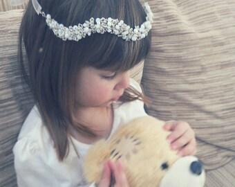 Flower girl head band, Flower girl gift, Flower girl headpiece, Kids halo, Childrens hair wreath, Kids hair piece, Toddler crystal circlet