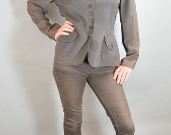 40a Long Brown Jacket Peter Pan Collar// Medium Blazer// 40s Blazer (F1)