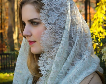 Evintage Veils: Seafoam Green & Taupe Chantilly Lace Infinity Chapel Veil Mantilla SOFT!!!