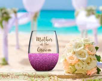 Mother of the Groom, Groom's Mother, Wedding Favor, Wedding Wine Glass, Wedding Toasting Glasses, Glitter Wine Glass, Wedding Toast