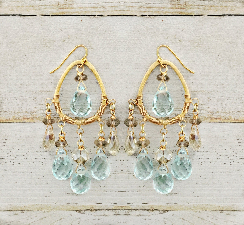 Aqua Crystal Topaz Crystal Chandelier Earrings – Aqua Chandelier Earrings