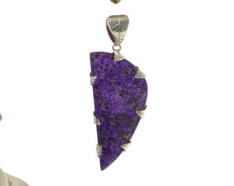 Silver Pendant with Sugilite. Natural stone. Gemstone pendant. Sugilte necklace. Sugilite jewel. Sugilite cabochon.