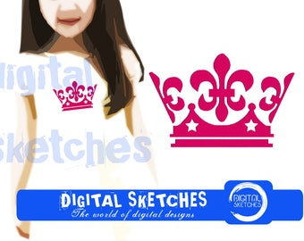Crown Machine Embroidery Design 7 Sizes