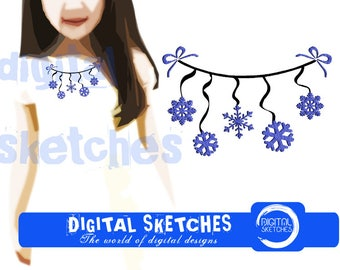 Clothes Line Snowflakes Machine Embroidery Design 3 Sizes