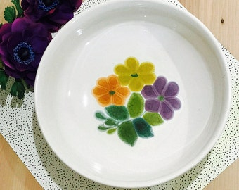 Franciscan Earthenware Floral Pattern Vintage 1970s Serving Bowl Cheerful Flowers