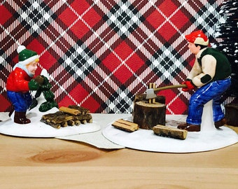 "Department 56 Snow Village ""Chopping Firewood"" Handpainted Ceramic Figuines"