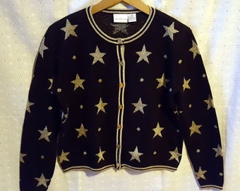Vintage Black & Gold Star Print Cardigan, Glitzy Christmas Sweater, '80s '90s, Small