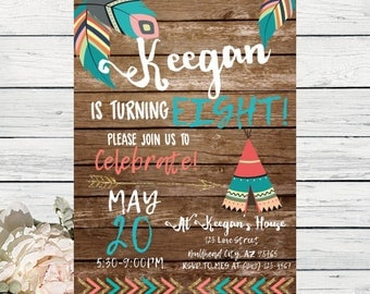 Boho Teepee Rustic Tribal Wooden background with Feathers Any Age Personalized birthday  invitation- ***Digital File*** (Boho-Tribal17)