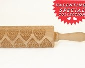Rolling Pin engraved LACE HEART  - embossing rolling pin, laser engraved rolling pin. <3 Valentines gift
