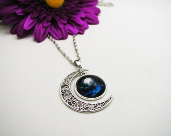 Galaxy Moon Necklace - Blue Nebula Necklace - Nebula Necklace - Boho Crystal Necklace - Moon Necklace - Moon Galaxy Necklace - Moon Galaxy