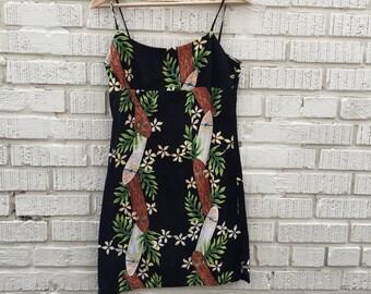90s Hawaiian Dres. 1990s Black Floral Mini Dress. Surf. Beach Cover Up. Small.