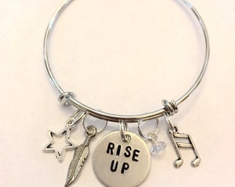 "Hamilton Inspired Hand-Stamped Bangle Bracelet - ""Rise Up"""
