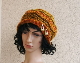Flower freeform Crochet  Hat, GINGER, pink,green,red,yellow