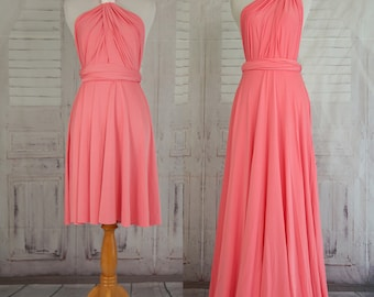 Coral Bridesmaid Dress Sweet heart Wrap Convertible Infinity Dress Evening Dresses  Bridesmaid Dress-C26#B26#