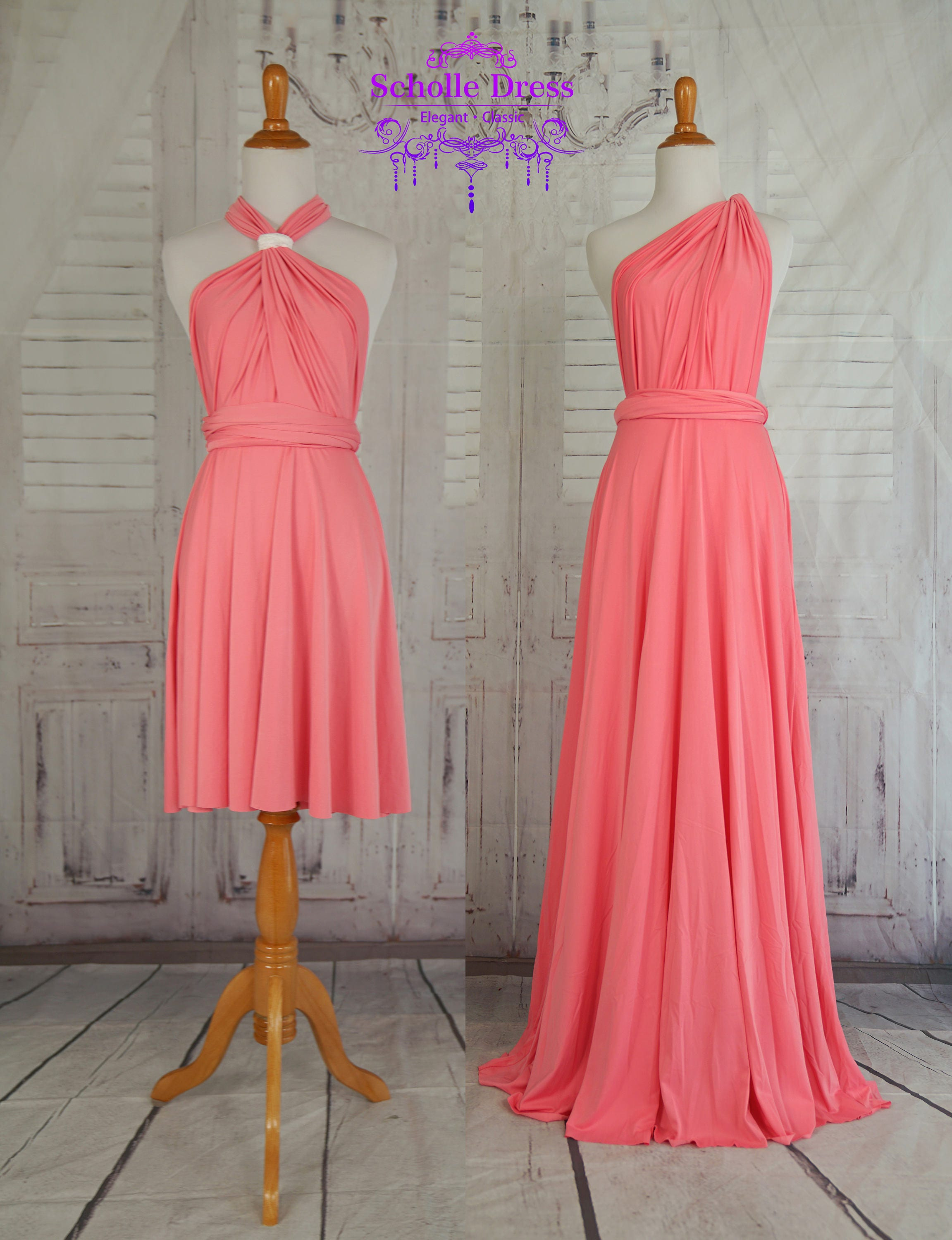 Coral bridesmaid dress wrap dress convertible infinity dress zoom ombrellifo Choice Image