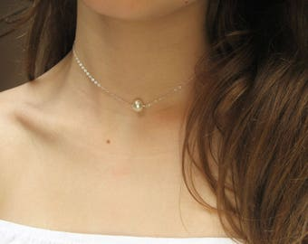 Single Pearl Necklace, 14k Gold Fill, 925 Sterling Silver, White Freshwater Pearl Necklace, Stone Necklace, Bridesmaid Gift, June Birthstone