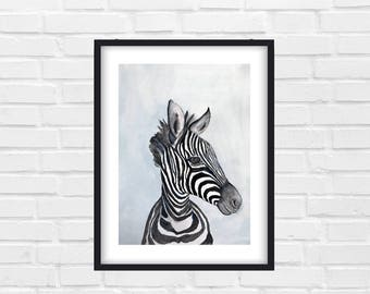 Watercolor Zebra, Animal Art, Zebra Painting, Watercolor Painting - Original Watercolor