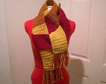 Gold, Orange,  and Burgundy Soft Hand Crochet Scarf inspired by Jayne Cobb of Firefly