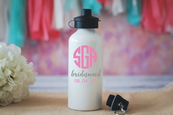 Monogram Bridesmaid Water Bottle, Wedding Party Favors, Bridesmaid Gift, Will You Be My Bridesmaid, Bridal Party Favors, Custom Initial Cup