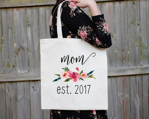 Mom Est. Tote Bag, Mama Bear Diaper Bag, Mother's Day Tote Bag, Baby Shower Bag, Baby Announcement, Expecting Mother, Custom Mom