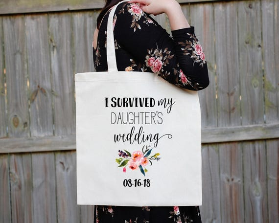 I Survived My Daughter's Wedding Tote Bag, Mother of the Bride Tote, Canvas Bag, Wedding Gift, Funny Bride Gift, MOTB Gift, Canvas Tote