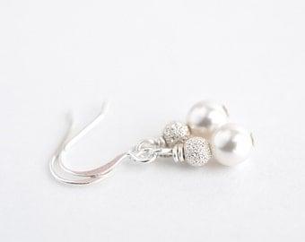 Classic white pearl earrings, pearl drop earrings, simple pearl earrings, Swarovski pearl bridal jewelry, dangle earrings, gift for her