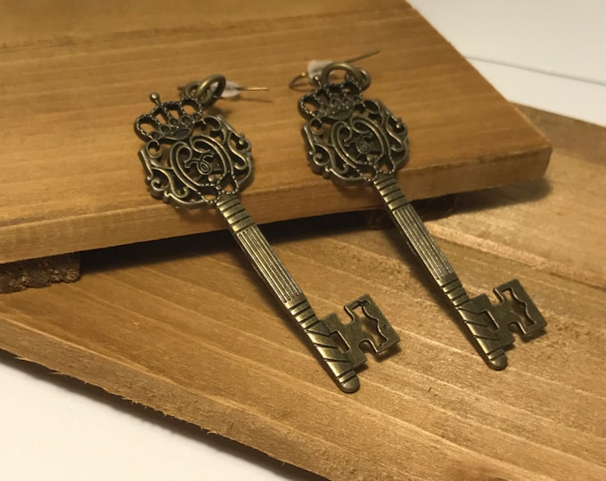 Crown Victorian Key Drop Earrings