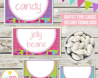 LEGO FRIENDS INSPIRED | Buffet Tent Cards | Blocks | Digital Instant Download