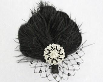 Wedding Hair Clip, Black Feather Fascinator, Great Gatsby Feather Headpiece, Feather Hair Clip, Bridal Accessories, Wedding Accessories