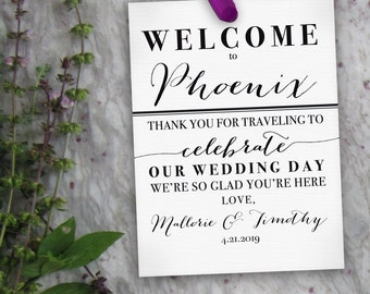 Wedding Welcome Tags // Printable Wedding Gift Tags, Hotel Welcome Bag Tags, Thank You Tags, Destination Wedding Tags // Custom Tag PDF