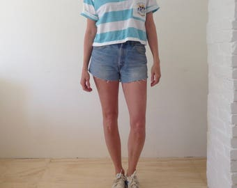 STRIPED T vintage 80's 90's crop top slouchy boxy top NAUTICAL boxy relaxed fit top
