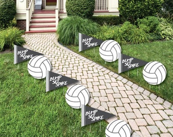 Volleyball - Lawn Decorations - Outdoor Baby Shower or Birthday Party Yard Party Decorations - Volleyball - Shaped Lawn Ornaments - 10 Pc.