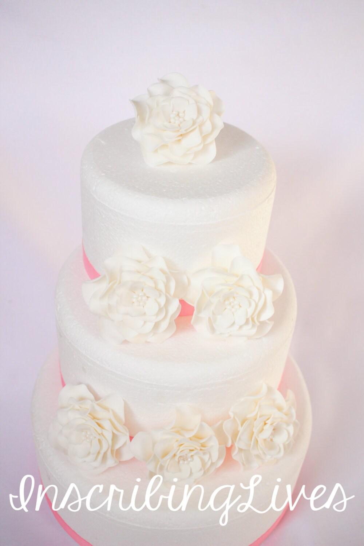 Large flower cake decorations 6pcs wedding cake topper edible large flower cake decorations 6pcs wedding cake topper edible fondant flowers white rose blossoms inscribinglives mightylinksfo