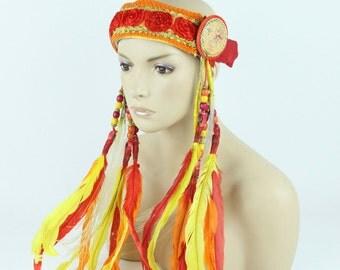 Fire Colors Boho Headband - Fire Glowing LEDs