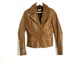 Vintage 90's Camel Brown Leather Fitted Jacket - Xsmall
