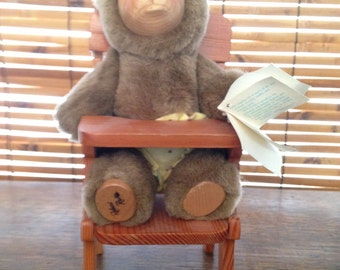 Nursery Miniatures - Robert Raikes - Wooden Faced Bear in a Chair
