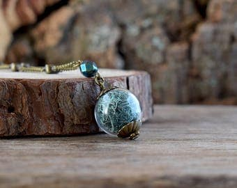 Teal blue moss necklace, Real moss necklace, True nature jewelry, Moss pendant, Woodland jewelry Botanical necklace, Glass terrarium jewelry