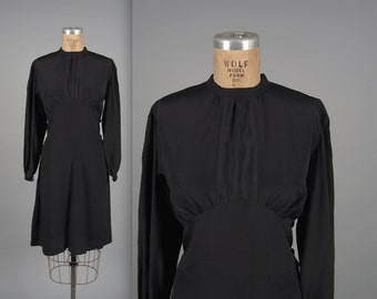 Vintage 1930s Dress // 30s Black Silk Rayon Dress // Bias Cut Skirt + Long Sleeves // Rare Size Large