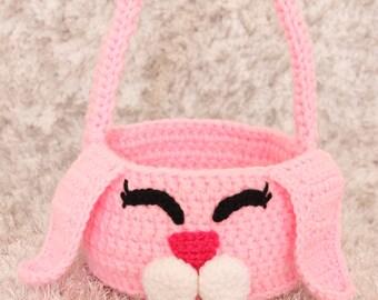 Crochet Easter Basket - Crochet Bunny Gift Basket - Pink Easter Basket - Baby Easter Basket - Toddler Easter Basket - Bunny Basket