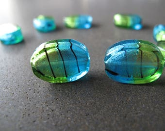 2pcs Vintage Glass Beads 18x13mm in Green Teal and Silver Foil, Vintage Green and Teal Blue Flat Oval Glass Beads  - B-09MCFS-174